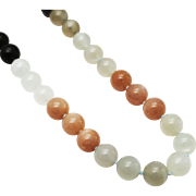 14KT Gold Stunning AAA Natural Multi-Color 10mm Moonstone Necklace