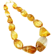 Natural Citrine Checkerboard Cut Free Form shape in Sterling Silver Necklace
