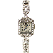 1.5 CT One of a Kind Collectible 14KT White Gold Diamond Vintage Wristwatch