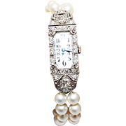 Platinum Old Mine Cut Diamond Double strands 6 1/2mm Cultured Akoya Pearls Bracelet - Red Tag Sale Item