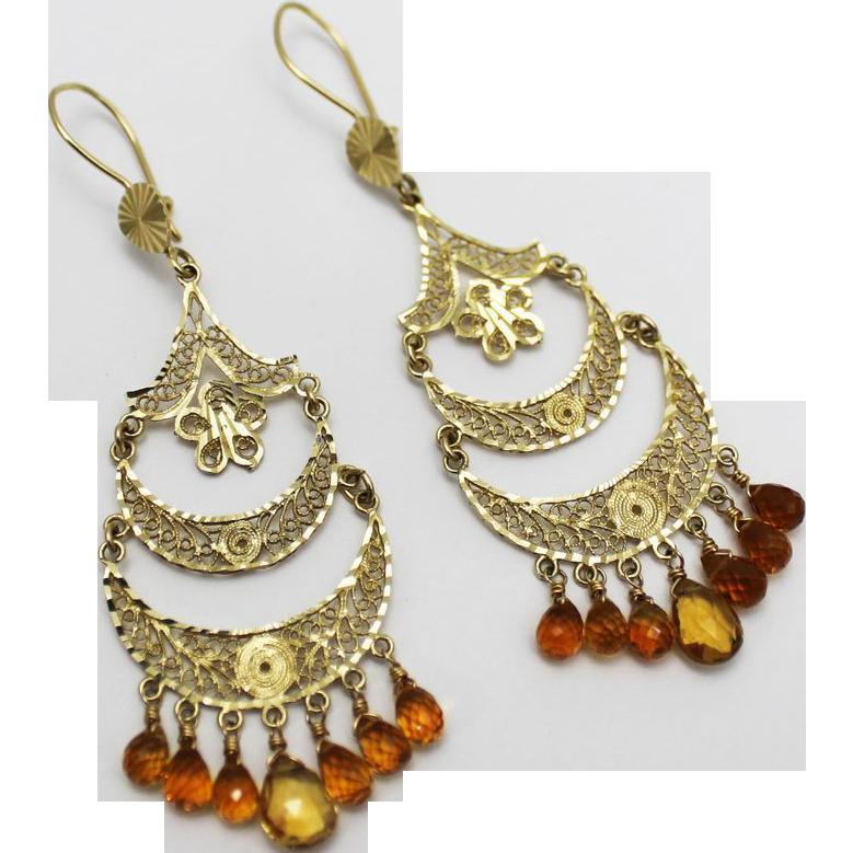 Handmade Natural Citrine Chandelier Earrings 14kt Gold