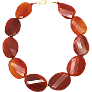 Natural Carnelian Handmade Sterling Silver Necklace - Red Tag Sale Item