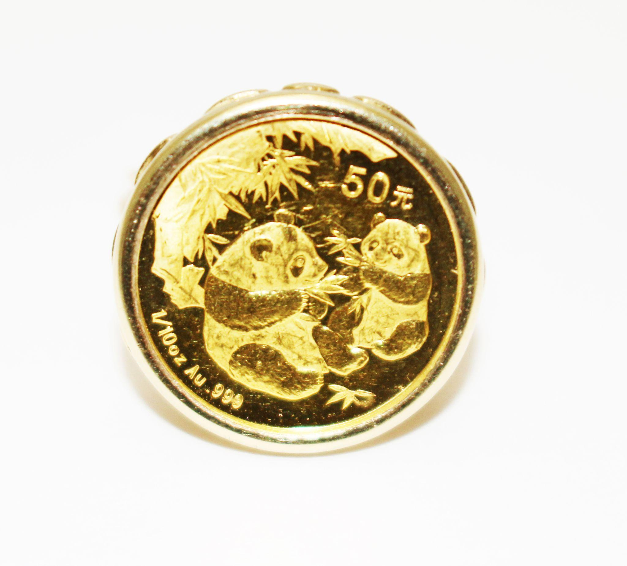 Gorgeous 24kt Gold 1 10 Oz Panda Coin Ring Set In 14kt Yellow Gold From Samantha Cham Nyc On