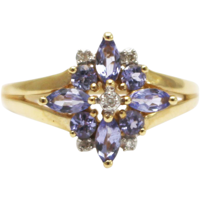 Natural tanzanite and diamond ring in 14kt yellow gold from samantha