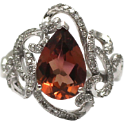 Natural Pink Tourmaline and Diamond Ring in 14 KT White Gold