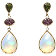 Handmade Rare Natural Ethiopian Opal, Green and Purple Tourmaline Earrings 14KT Gold