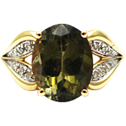 Natural Green Chrome Tourmaline and Diamond Ring in 14 KT Gold