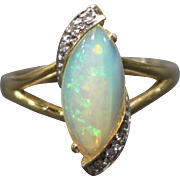 Natural Austrian Opal and Diamond Ring in 14KT Yellow Gold