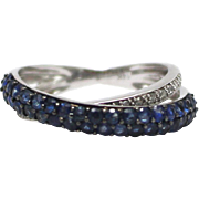 Bypass Natural Blue Sapphire and Diamond Ring in 14KT White Gold