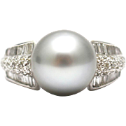 Natural Diamond and Cultured Platinum Color Tahitian Pearl Ring in 18KT White Gold