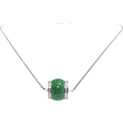 18KT Natural Jade with Diamonds slider pendent with chain Necklace