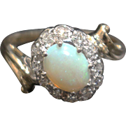 Natural Australian Opal and Diamond Ring in 14KT Gold