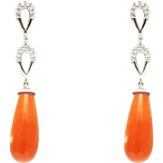 Handmade Natural Italian Red Coral and Diamonds Earrings 14KT Gold