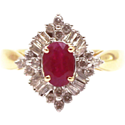 Natural Ruby and Diamond Ring in 14KT Gold