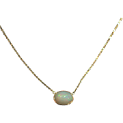 14kt Gold 7CT Natural Ethiopian Opal Handmade Bezel Set Necklace