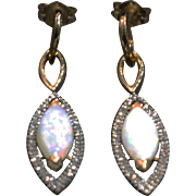 Rare Natural Australian Opal and Diamond Earrings 14KT Gold