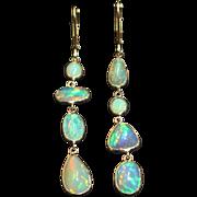 Handmade Asymmetrical Rare Natural Ethiopian Opal 18KT Gold Earrings