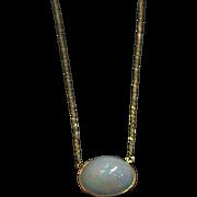 14kt Gold 13CT Natural Ethiopian Opal Handmade Bezel Set Necklace