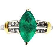 2 CT Natural Colombian Emerald, 0.65 CT Diamond Platinum and 18KT White Gold Ring