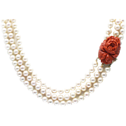 Priceless Italian Coral Handcarved Flower 14KT Gold Clasp Triple strands 8mm Cultured Akoya Pearls Necklace 14KT Gold