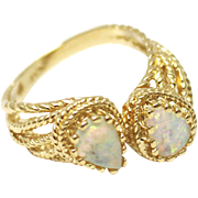 Natural Australian Opal Ring in 14KT Gold Yellow