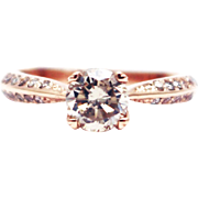 Natural 1.5 CT Solitaire Engagement Diamond Ring in 14KT Rose Gold