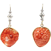 Natural Hand Carved Angel Skin Coral and Diamonds Earrings 14KT Yellow Gold