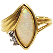 Natural Australian Opal and Diamond Ring in 14KT Gold Yellow