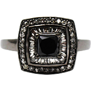 Natural Black and White Princess Cut Diamond Cocktail or Engagement Ring in 14KT Gold with Black Rhodium