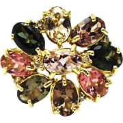 Natural Watermelon Pink, Green, Chrome and Golden Tourmaline and Diamond Ring in 18 KT Gold