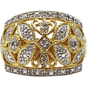 Bold Elegant Natural Diamond Cocktail Ring in 14KT Yellow Gold