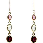 7CT Natural Candy Pink,  Apple Green and Rubellite Pink Watermelon Tourmaline Earrings 18KT Gold