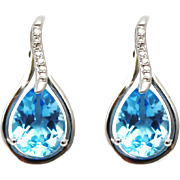 Natural Diamond and Swiss Blue Topaz Earrings 14KT Gold