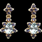 Natural Aquamarine and Tanzanite Earrings 14KT Gold