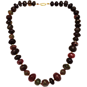 500 CT Natural Multi-Color Watermelon Tourmaline Necklace in 18KT Gold