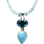 100 CT Natural Aquamarine 10 CT Blue Topaz and 15 CT Larimar Handmade Sterling Silver Necklace