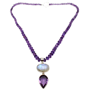 225 CT Natural Amethyst & Rainbow Moonstone Handmade Sterling Silver Necklace