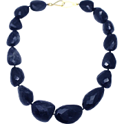 Natural 600 CT  Iolite Faceted Nugget Handmade Sterling Silver Necklace