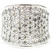 Natural Diamond Cocktail Statement Ring in 14KT White Gold