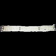 Triple strands 6mm Cultured Akoya Pearls Bracelet Diamond 14KT Gold Bracelet