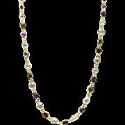 110CT Natural Mutli-Color Gemstones, Citrine, Amethyst, Garnet, Blue Topaz and Smoky Quartz Handmade 18KT plated over Sterling Silver Necklace