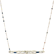 Handmade Custom-made Antique Bar Diamond and Sapphire Pendant Chain Necklace 18KT White Gold