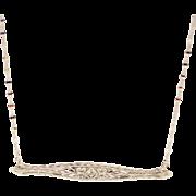 Handmade Custom-made Antique Bar Diamond Pendant Chain Necklace 14KT White Gold