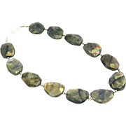 Natural Faceted Labradorite Slice Handmade Sterling Silver Necklace