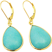 18CT Natural Sleeping Beauty Turquoise Earrings Hand Bezel Set in 18KT Gold