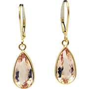 10CT Natural Pink Morganite Earrings Hand Bezel Set in 18KT Gold
