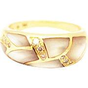 Most Beautiful Natural Mother of Pearl and Diamond Ring 14KT Yellow Gold Ring