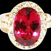 8.5 CT Natural Raspberry Pink Red Rubellite Tourmaline Diamond 18KT Gold Ring