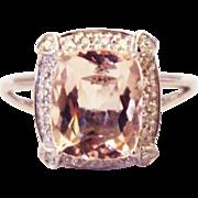 5.50 CT Natural Morganite & Diamonds Ring 14KT White Gold