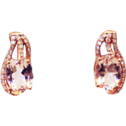 SALE Natural Pink Morganite and Diamond Earrings in 14KT Gold